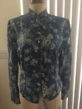 Great Condition Ralph Lauren Blouse Blue Jean Flower Asian 8 Fitted Tailored
