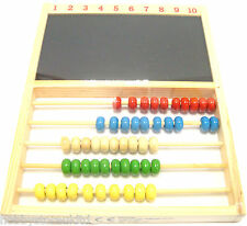 Wooden Abacus & Chalkboard Childrens Counting Frame Educational Toy Wooden Beads