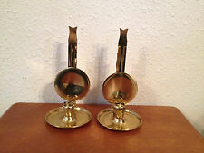 Likely Vintage Pair of Brass Wall Candle Sconces