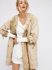 New Urban Outfitters Free People Cream Evan Winter Jacket Parka Applique Small