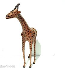 "42"" LARGE LEATHER WRAPPED GIRAFFE AFRICAN GIRAFFE STATUE"