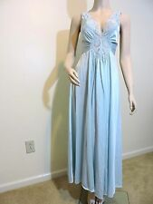 VTG Olga Light Blue Long Nightgown Gown, #92280. Size M
