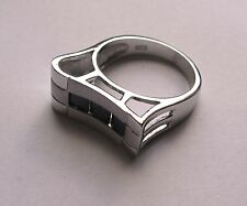 Cubic Zirconia Sterling Silver Modern Ring Size M