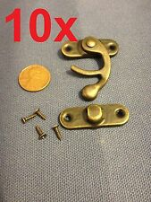 10 sets - latch hook Hinge small mini  Antique wood box Catch Decorative b14
