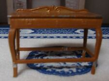Vintage Signed Dollhouse Miniature Tootsie Toy Brown Metal Dining Side Table