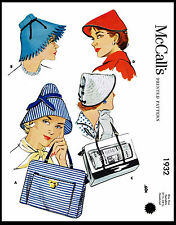 Millinery # 1932 McCALL'S Summer Shopping Hats Bag Fabric Sewing Pattern Bonnet