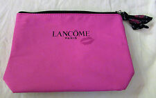 NEW LANCOME MAKEUP COSMETIC BAG - Hot Pink With Red Lips - Black Trim & Zipper