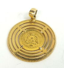 Rare 18kt yellow gold Mexican Peso coin charm. Dos y medio pesos. Two and a half