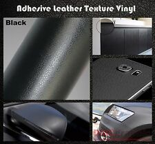 20x152cm Black Leather Texture Adhesive Vinyl Wrap Film Sticker Cars Furniture