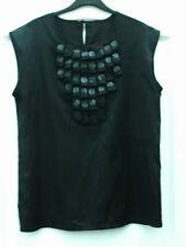 ET VOUS SLINKY BLACK EMBELLISHED TAB SEQUIN BID FRONT SLEEVELESS TANK VEST TOP