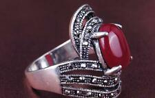 Luxurious Red/Black Oval Cubic Zircon Silver Plated Lady Girl Ring Size 7/8/9/10