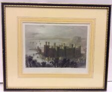 Framed Hand Colored Print Carnarvon Castle Wales W H Bartlett J Carter