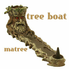 Incense Burner Poly Resin Brown Tree Boat matree  w/Wild-berry Incense Samples