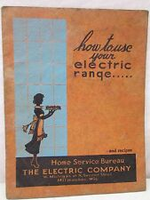 Vintage How To Use Your Electric Company Range Recipes Cook Book USA Old