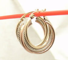 """3/4"""" Small Twisted Triple Wire  Textured Hoop Earrings REAL 10K Tri-Color Gold"""