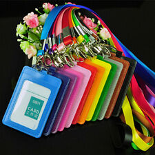 10Pcs PU Leather Business ID Badge Card Holder With Lanyard Credit Double Slot