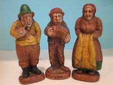 Vtg Syroco Hillbilly FOLK FIGURINES Lem Accordion Old Salty Man Peasant Lady