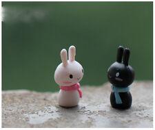 2 Pz Mini A Sciarpa Coniglio Decorativa Da Giardino Statuina Fata Micro