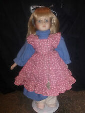 BEAUTIFUL VINTAGE OLD FASHIONED PORCELAIN DOLL WITH GLASSES APPROX. 15 1/2 IN.