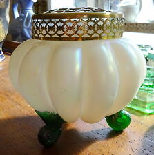 Art Nouveau Mother of Pearl Glass footed Vase Metal Flower Frog possibly Kralik
