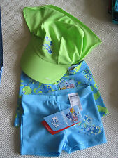 SPEEDO TOTS TRIO PACK OF PRINT ENDURANCE AQUASHORTS PLUS PEAK SHADE CAP UK4years