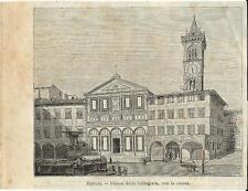Stampa antica EMPOLI Piazza Farinata degli Uberti Firenze 1897 Old antique print