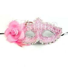 Woman Lady Pink Princess Lily Mask Lace Party Masquerade Halloween Costume Ball