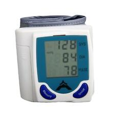 New Wrist Blood Pressure Monitor & Heart Beat Meter Pulse LCD Screen White Blue