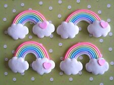 4 x Rainbow Heart Clouds Polymer Clay Cabochon Flatback Scrapbooking Craft