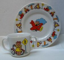 Bear on Plane Bicycle Boy and Girl Plate and Matching Cup Vintage 1985 Bialosky