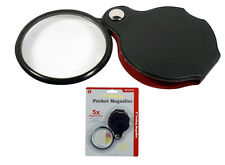"5X Magnifier Magnifying 2"" Glass Lens Handheld Folding Hand Held Pouch"
