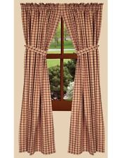 Country Barn Red Nutmeg Plaid Salem Lined Curtains 72x63