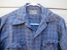 vtg 50s Sportswear plaid rockabilly RAYON button up collared shirt MEDIUM M blue