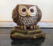 VINTAGE 1970s OWL CANDLESTICK HOLDER FIGURINE PAINTED CHALK WARE GREEN LOG