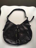 Yves Saint Laurent Black Leather Mombasa Hobo Bag with Deer Horn