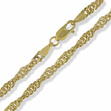 "375 9CT SOLID YELLOW GOLD 20"" SINGAPORE TWISTED CURB LINK ROPE CHAIN NECKLACE"