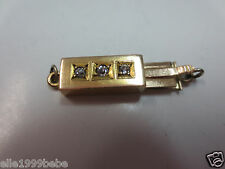 Vintage 14k Solid Yellow Gold Diamond Clasp for Single Strand Bracelet Necklace