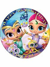 "SHIMMER AND SHINE - DESIGN 3  PERSONALIZED 7.5"" CIRCLE ICING CAKE TOPPER"