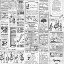 Galerie Memories 2 G56143 Black White Grey Old Adverts Newspaper Wallpaper