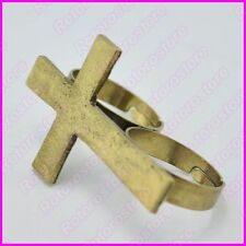 Double 2 Finger Vintage Gold Cross Adjustable Ring - Women's Jewellry - NEW