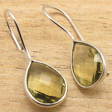 Genuine YELLOW CUT LEMON TOPAZ TRADITIONAL Earrings ! 925 Silver Plated Jewelry