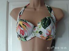WHITE AND GREEN SIZE 32F/G BIKINI TOP BY NEXT