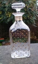 ANTIQUE VICTORIAN FRENCH BACCARAT GLASS SCENT BOTTLE DECORATED WITH GOLD STARS