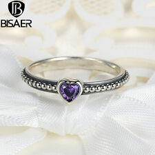 Big Promotion Silver Love Heart Finger Ring with Purple Crystal For Women Size 7