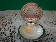 Vintage Clam Shell Butter Dish Silverplate Shell Glass Insert Trinket Container