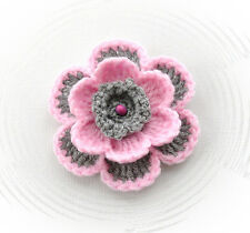 HAND CROCHET BROOCH APPLIQUE *PASTEL PINK GREY* ACRYLIC FLOWER