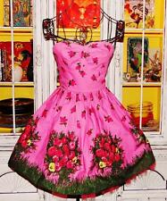 Betsey Johnson RARE Dress PINK ROSE Garden Party FIT & FLARE Pink FLORAL Tea 2 S