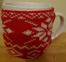 NEW Coffee Tea Milk 18 OZ. Mug Cup RED W/ WHITE Snowflakes Sweater W/Buttons