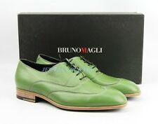 BRUNO MAGLI TENDER GREEN HANDMADE SHOES 100% DEER LEATHER ITALY NEW SIZE 9 # 3