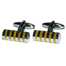 Yellow Stripes Cufflinks Present Gift Box Suit Formal Wedding Cruise Party